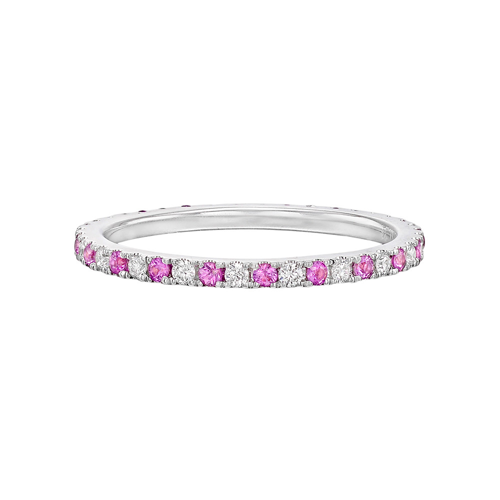 Thin Pink Sapphire & Diamond Eternity Band
