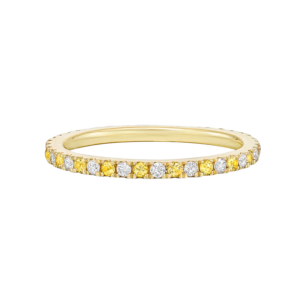 ​Thin Yellow Sapphire & Diamond Eternity Band