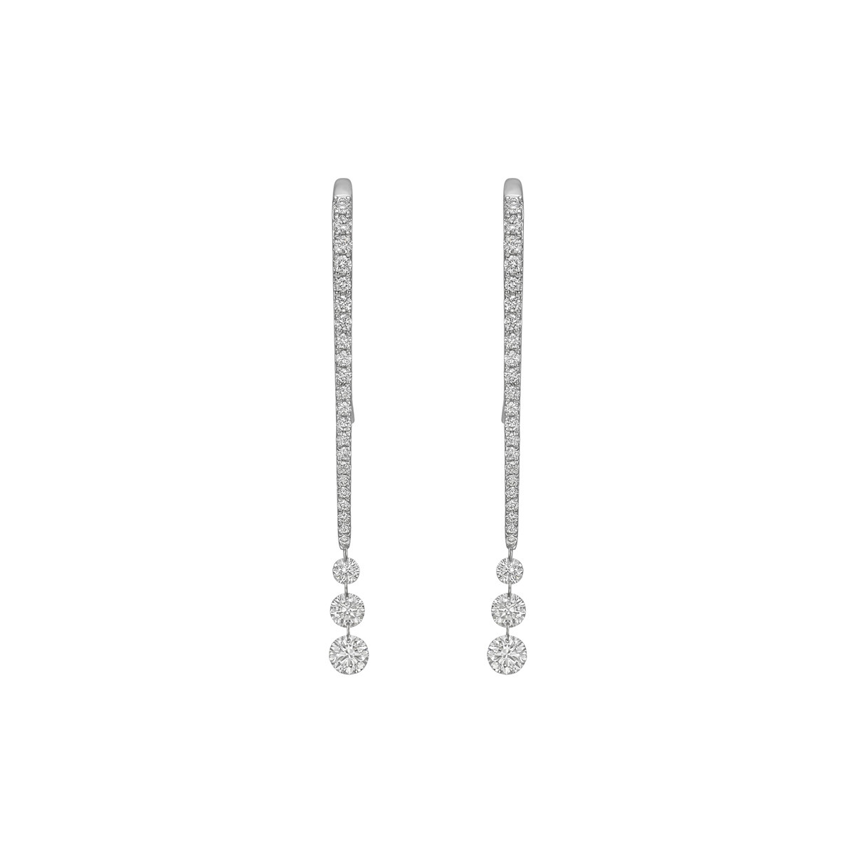 Three Diamond Chain Drop Earrings