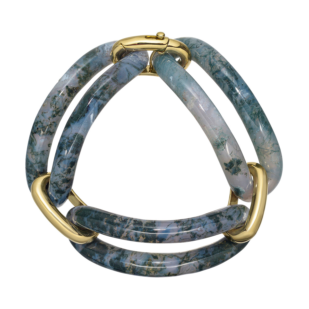 18k Yellow Gold & Green Agate Three-Link Bracelet