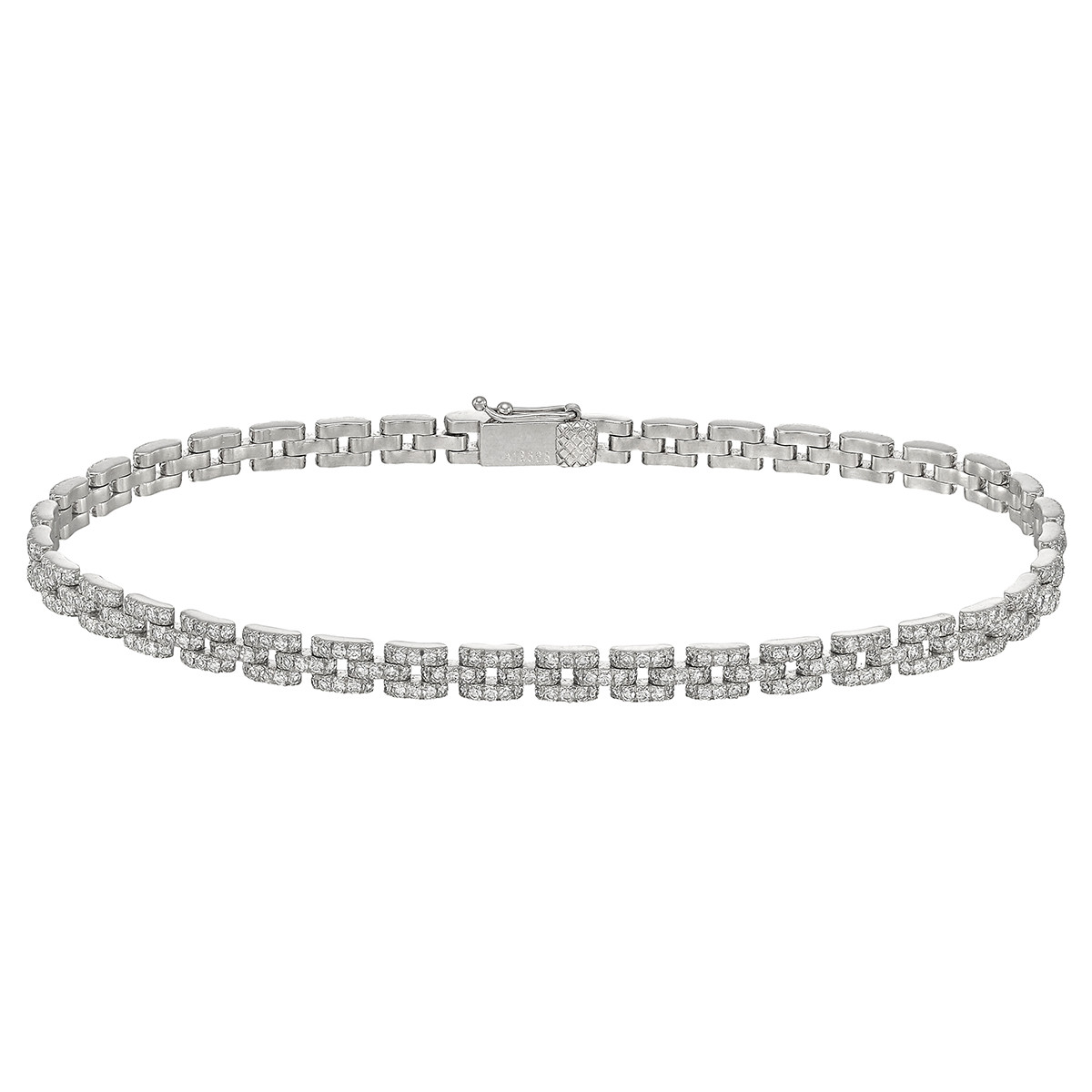 Three-Row Round Brilliant Diamond Link Bracelet