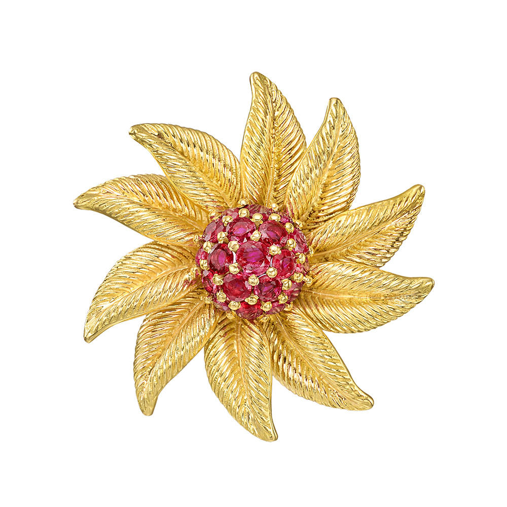 ed120ac0bd448 Tiffany Gold & Ruby Flower Brooch | Betteridge
