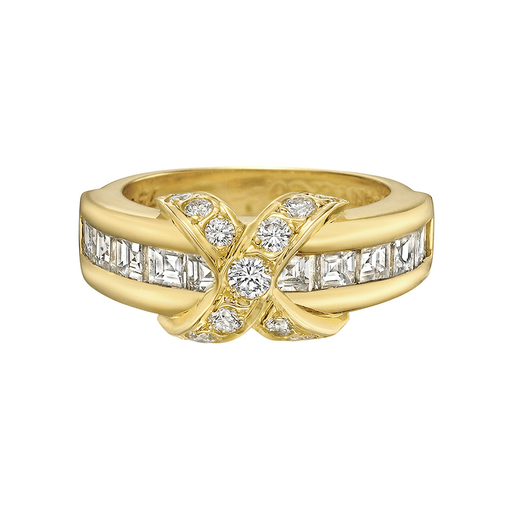 18k Yellow Gold & Diamond 'X' Band Ring