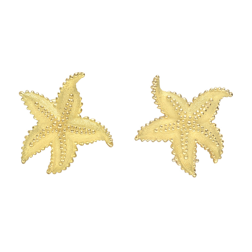65c93f4c4 Starfish earrings, in textured 18k yellow gold, with gold beaded texturing,  omega-style clips and posts, signed Tiffany & Co.
