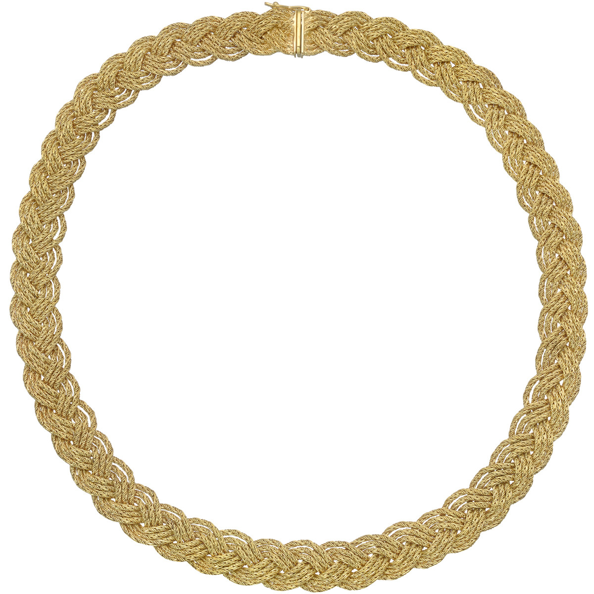 Braided 18k Yellow Gold Collar Necklace