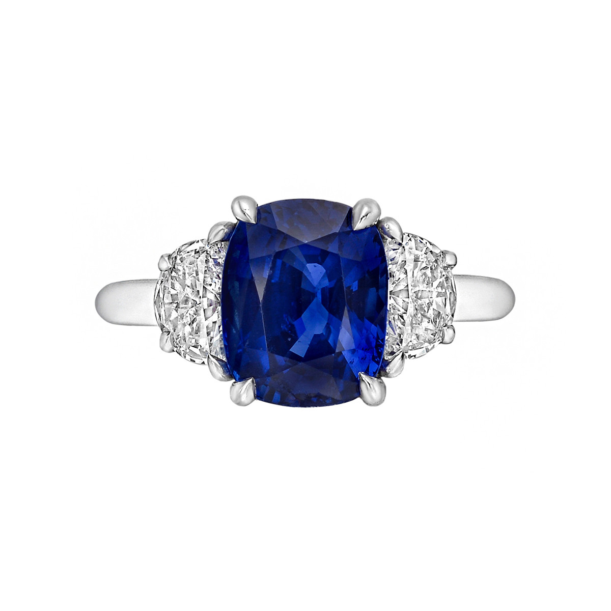 3.04ct Sapphire & Diamond Three-Stone Ring