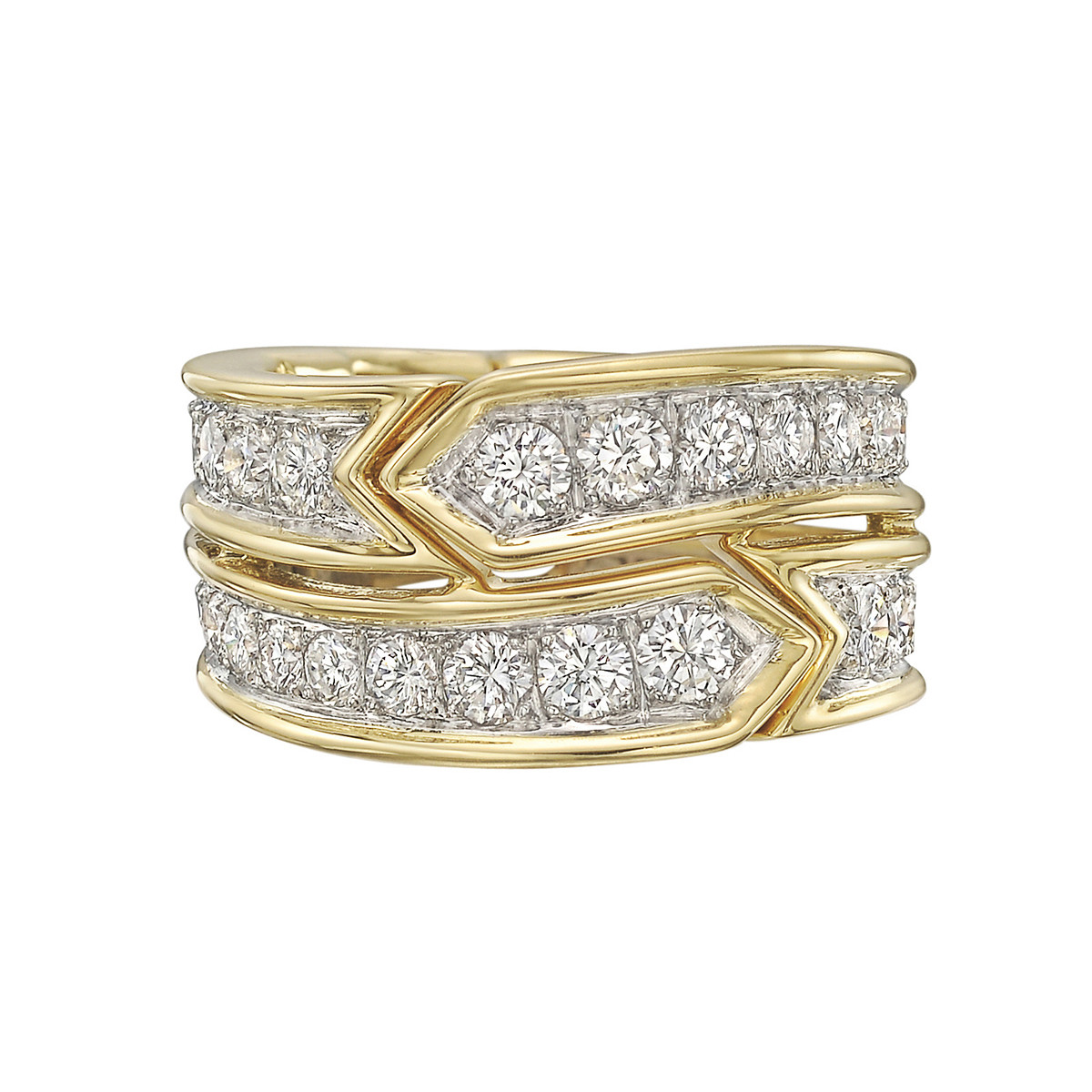 Donald Claflin 18k Gold, Platinum & Diamond Ring