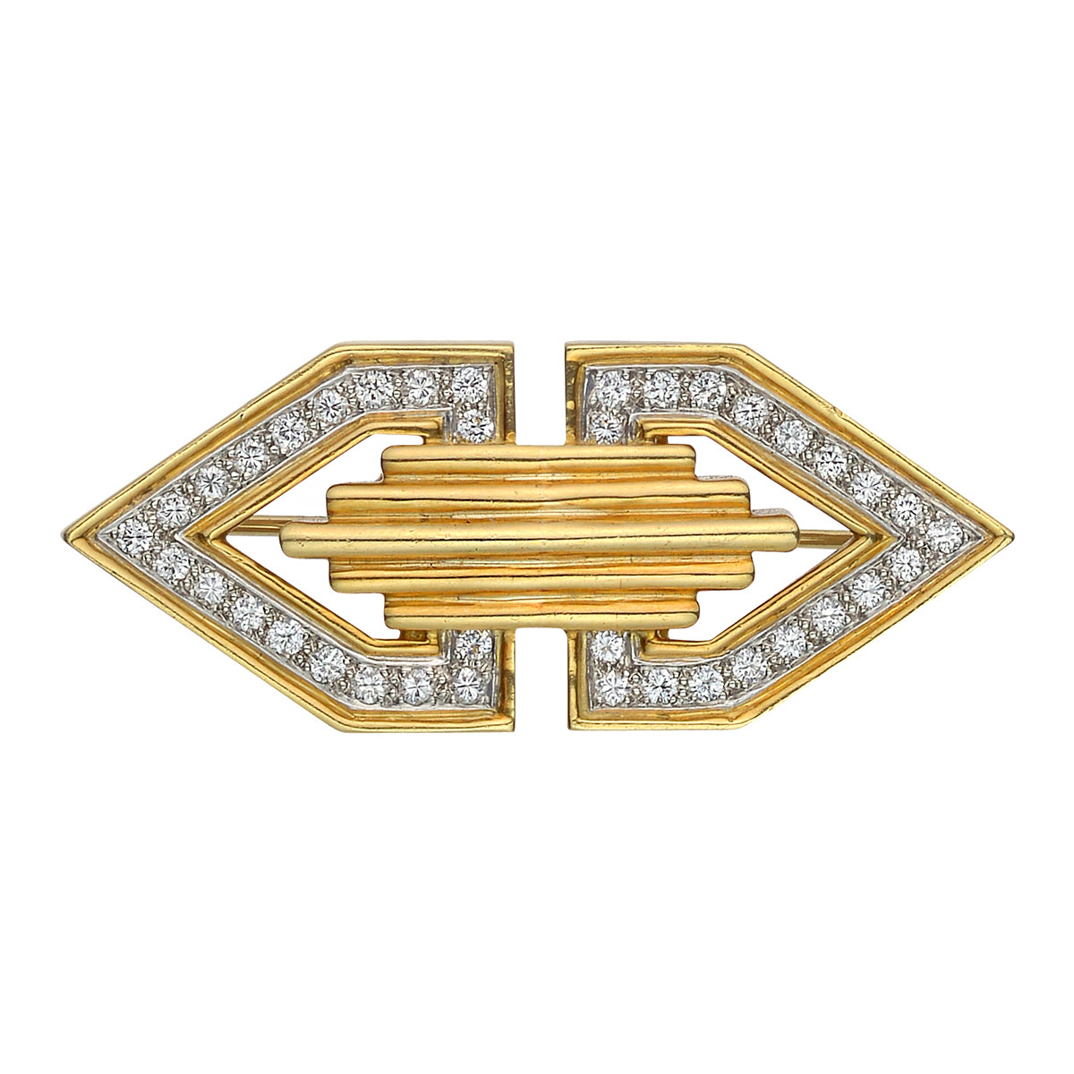 Deco 18k Yellow Gold & Diamond Clip Brooch