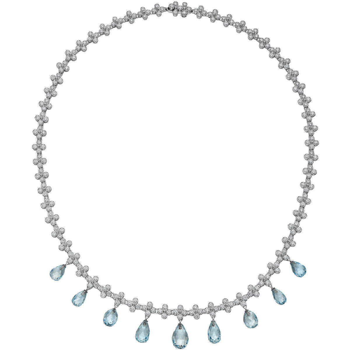 "Diamond & Aquamarine Fringe ""Lace"" Necklace"