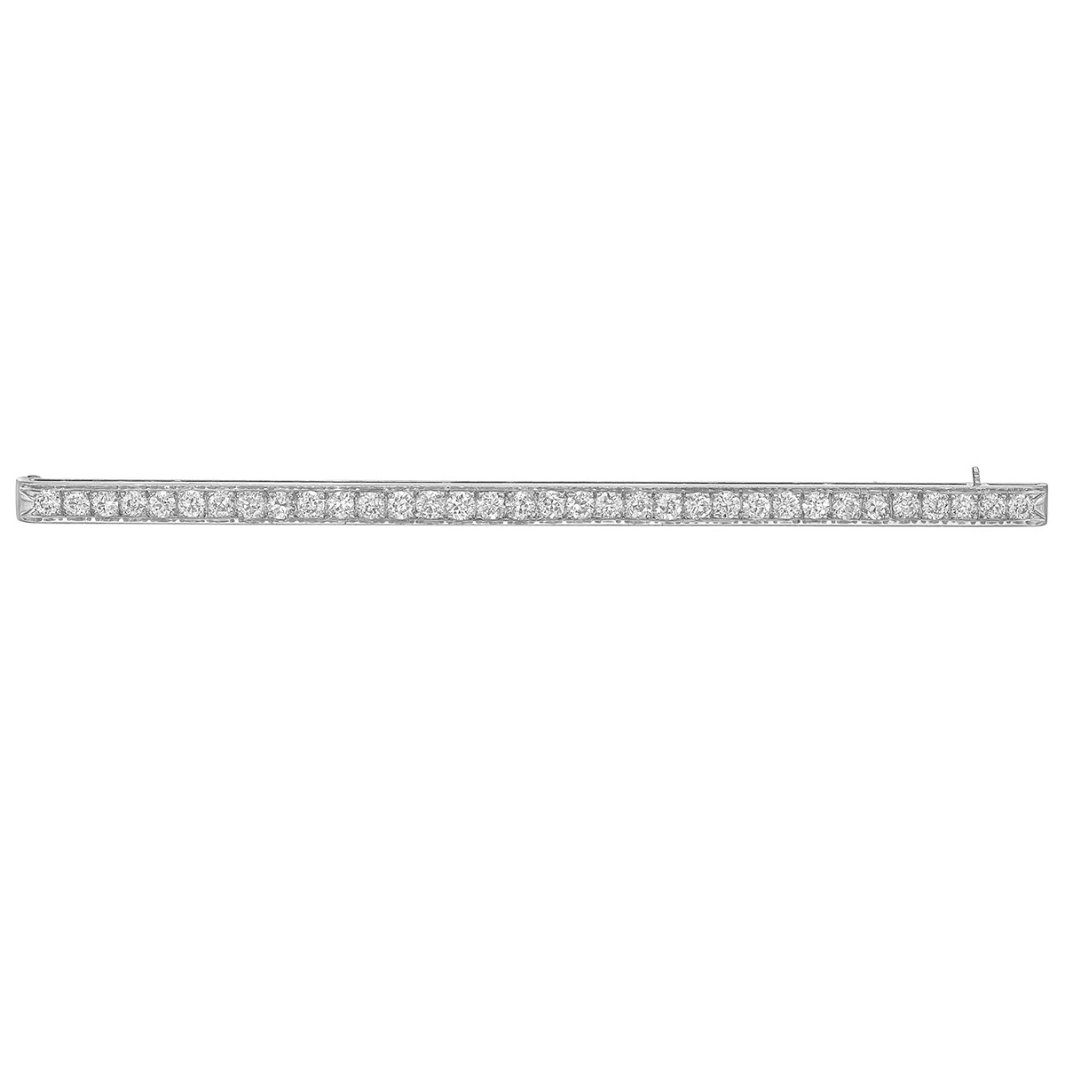 Antique Platinum & Diamond Long Bar Pin