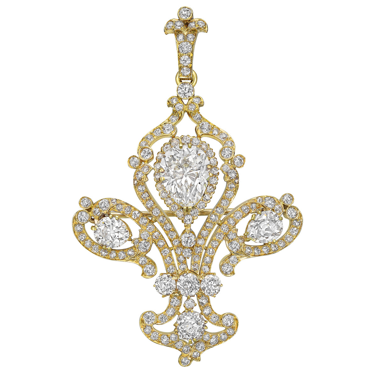 Late-19th Century Diamond Fleur-de-Lis Pendant Brooch