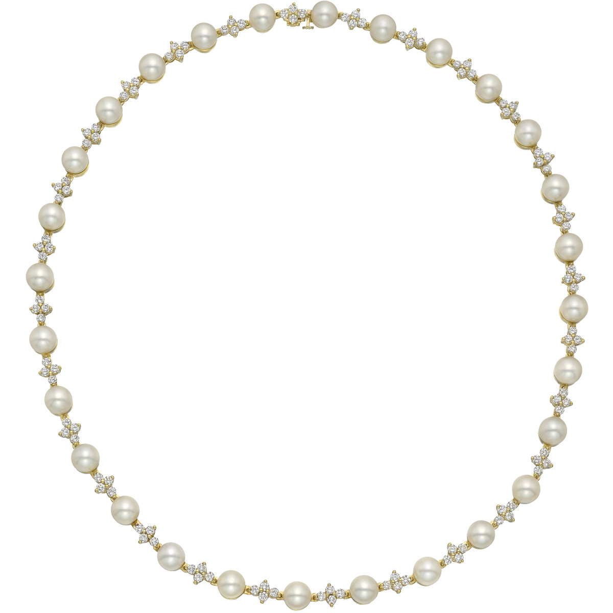Pearl & Diamond Cluster Collar Necklace
