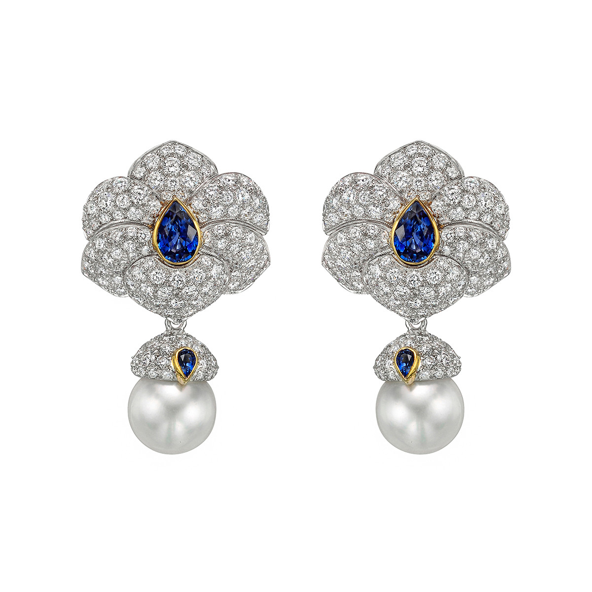 Diamond, Sapphire & South Sea Pearl Drop Earrings