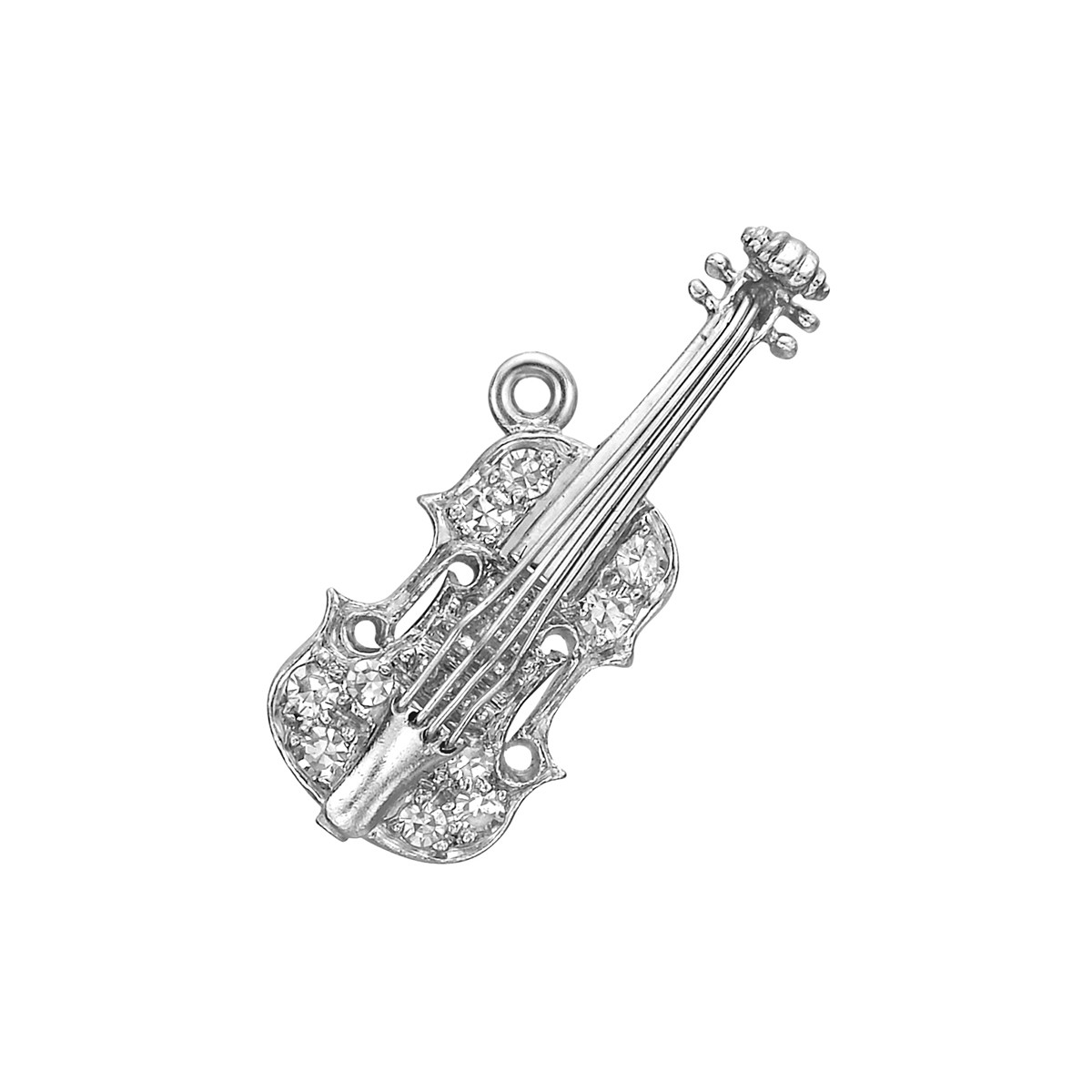 Platinum & Diamond Violin Charm
