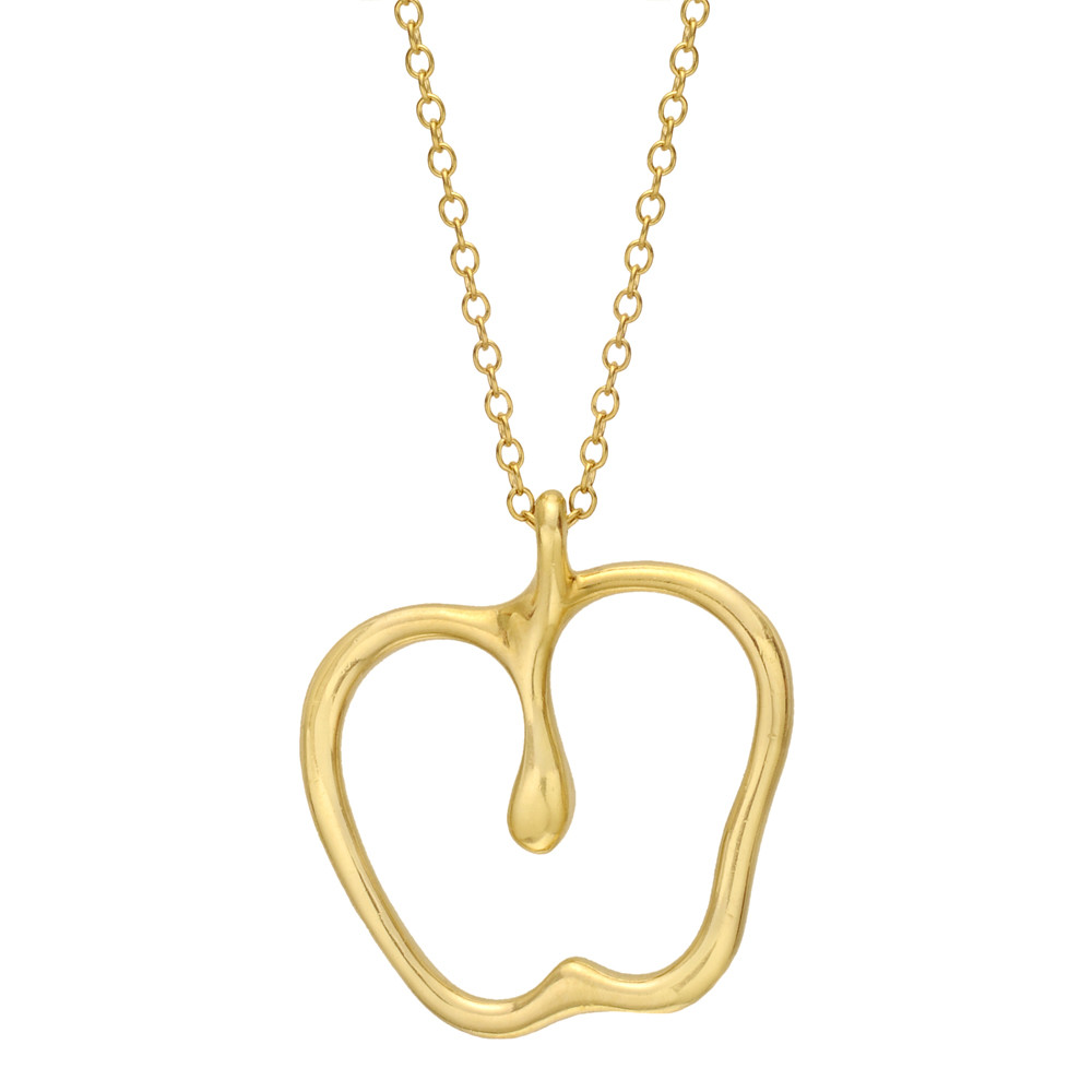 b10166569 Elsa Peretti apple pendant, in 18k yellow gold, on a 30