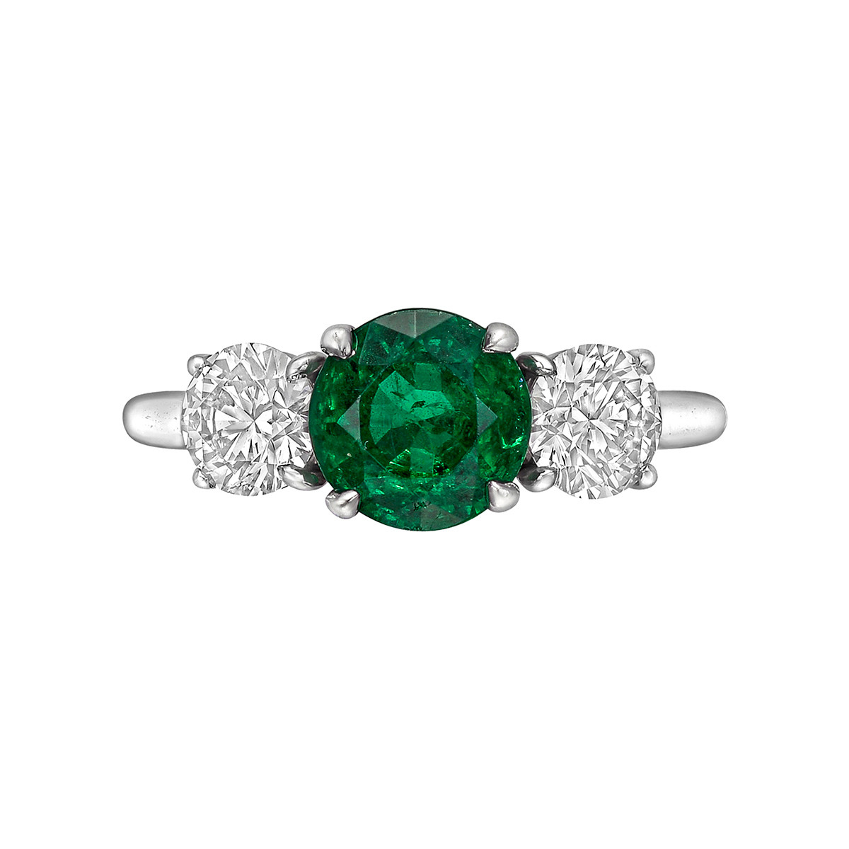 1.82ct Emerald & Diamond Three-Stone Ring