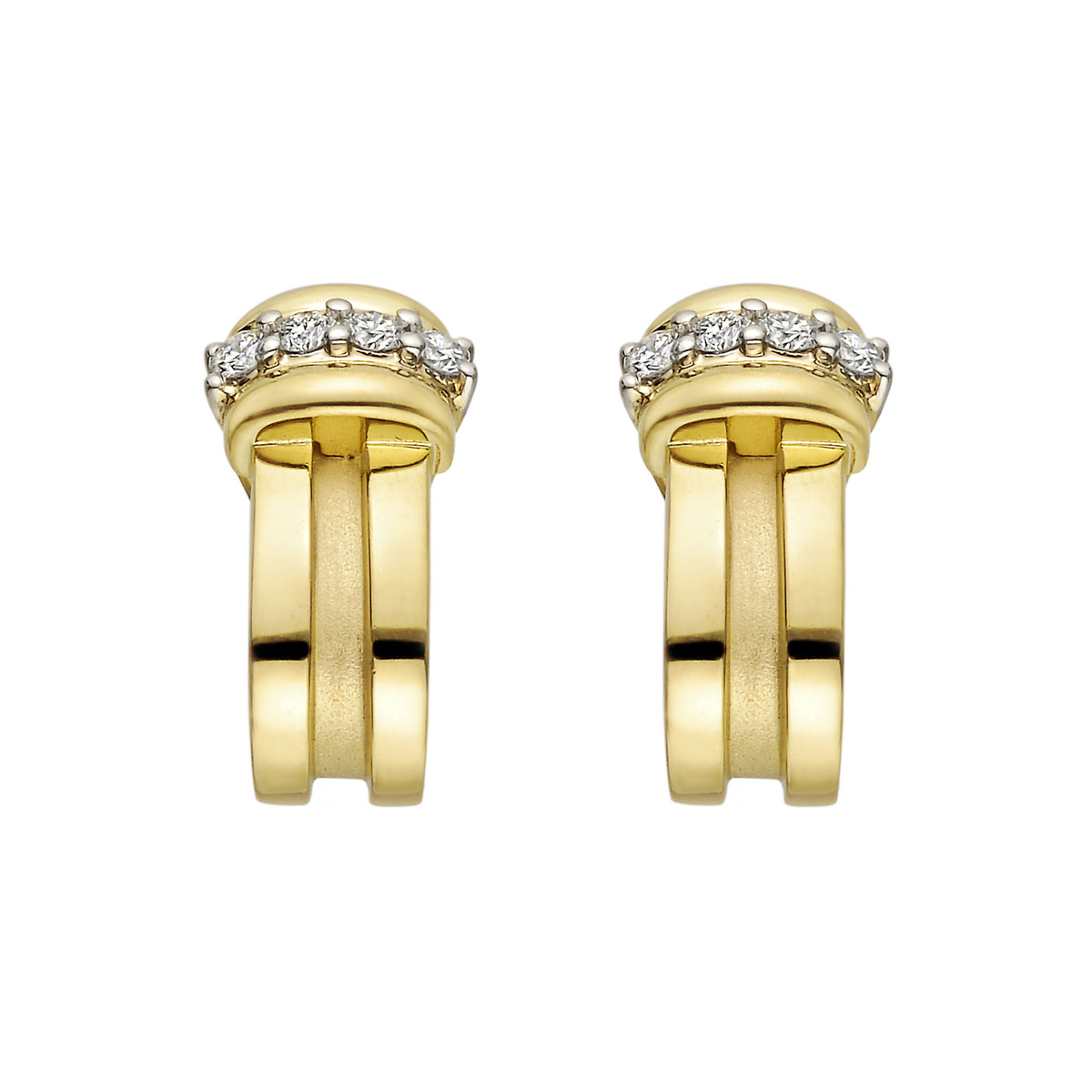 18k Yellow Gold & Diamond Fluted Half-Hoop Earrings