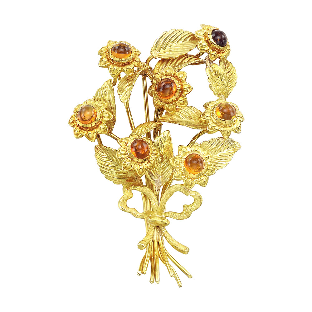 Estate Tiffany Co 18k Gold Citrine Flower Bouquet Brooch