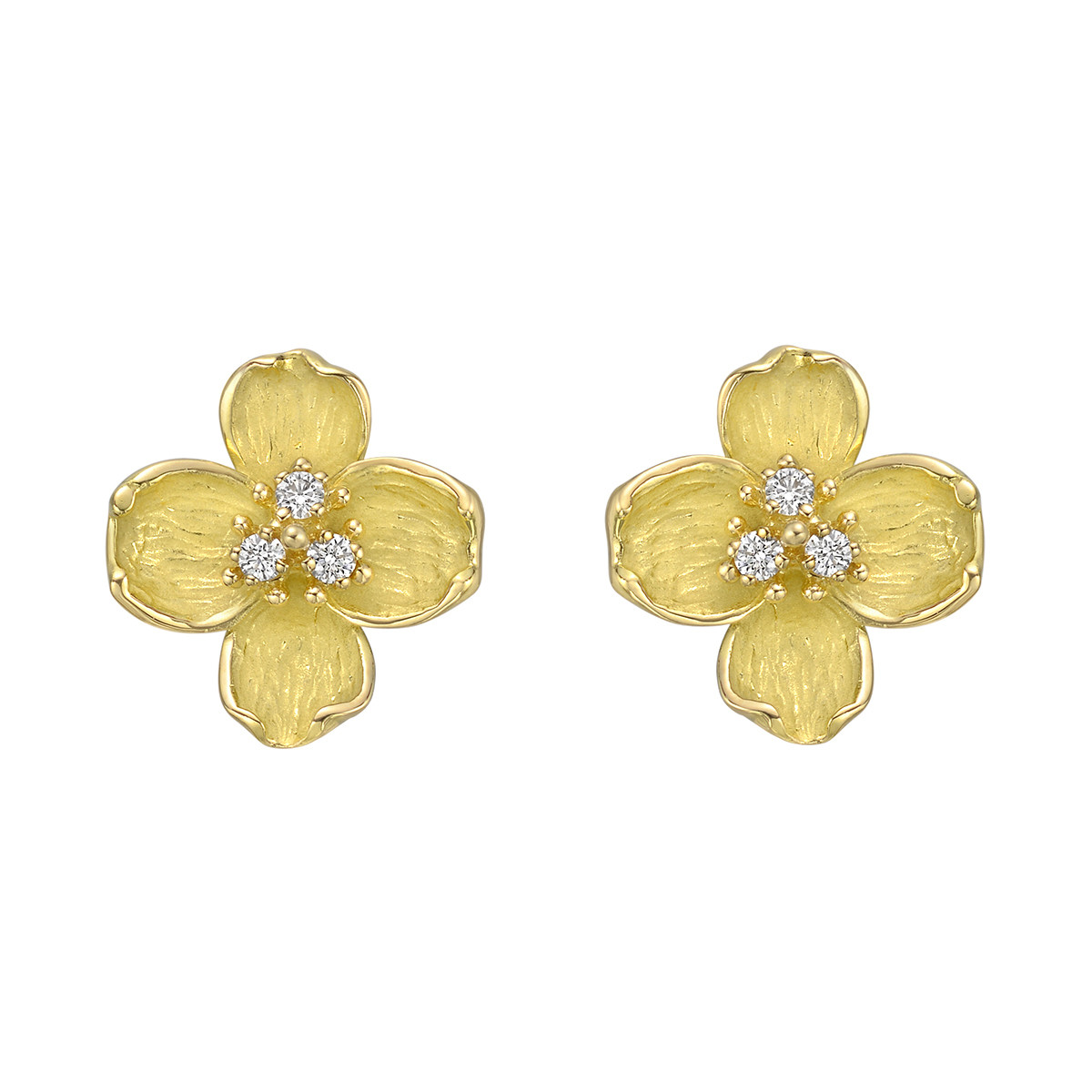 18k Yellow Gold & Diamond Flower Earrings
