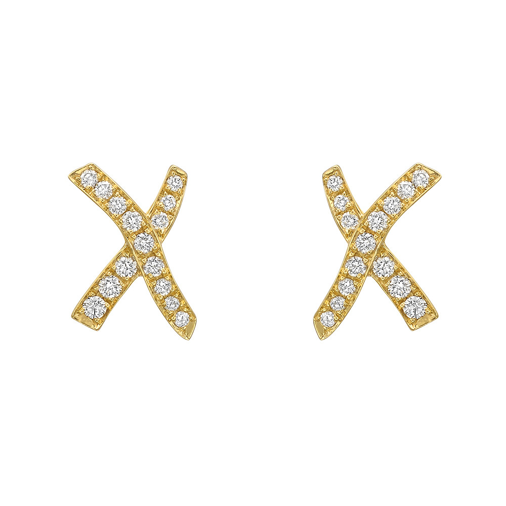 18k Yellow Gold Diamond X Stud Earrings