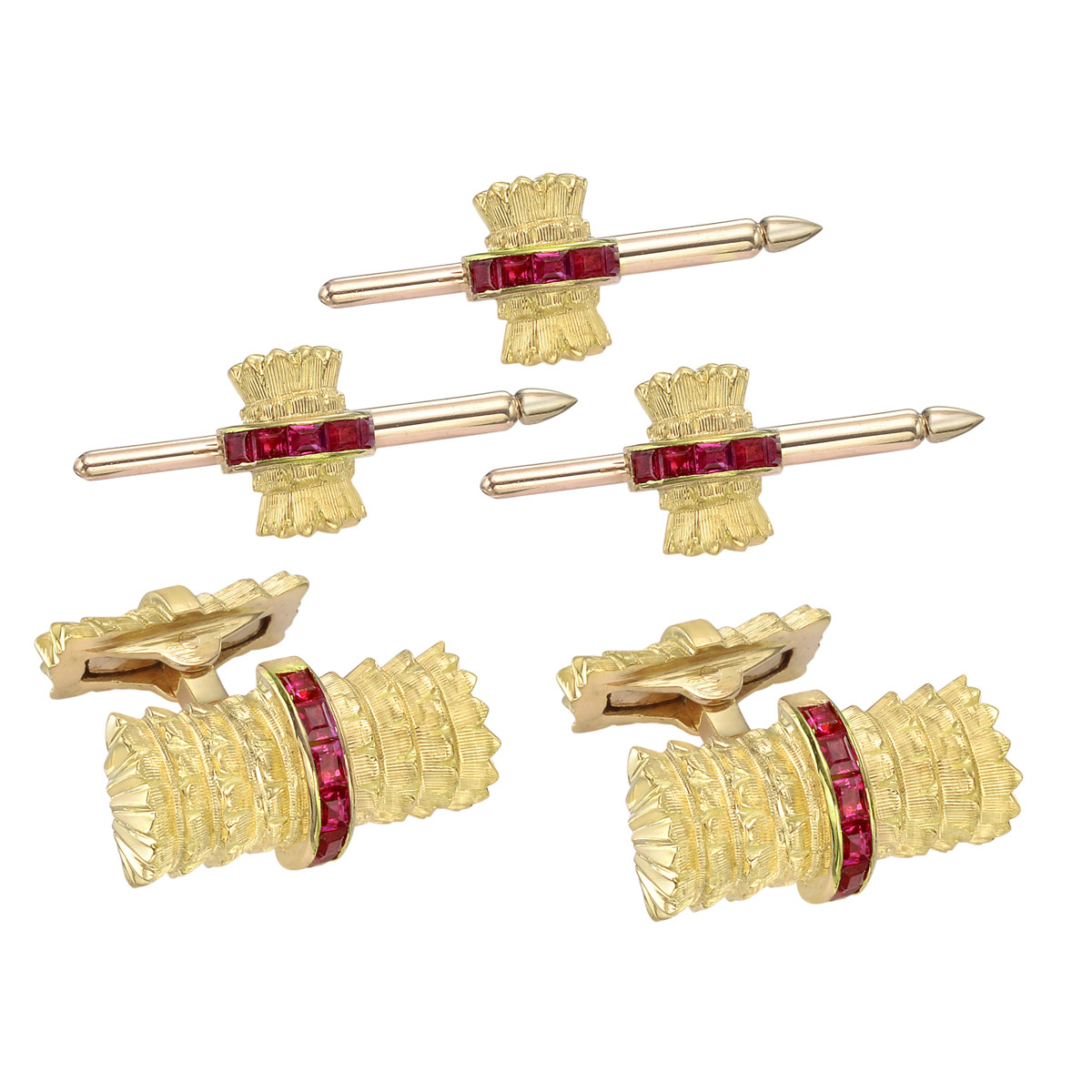 18k Yellow Gold & Ruby Dress Set