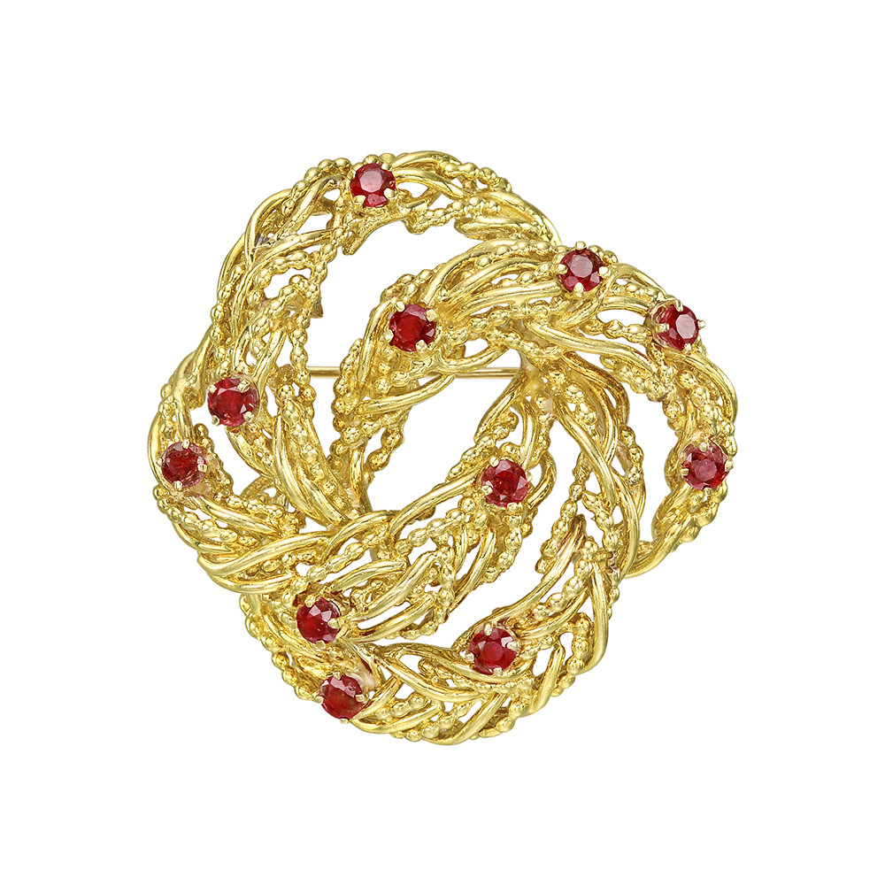 18k Yellow Gold & Ruby Wreath Pin