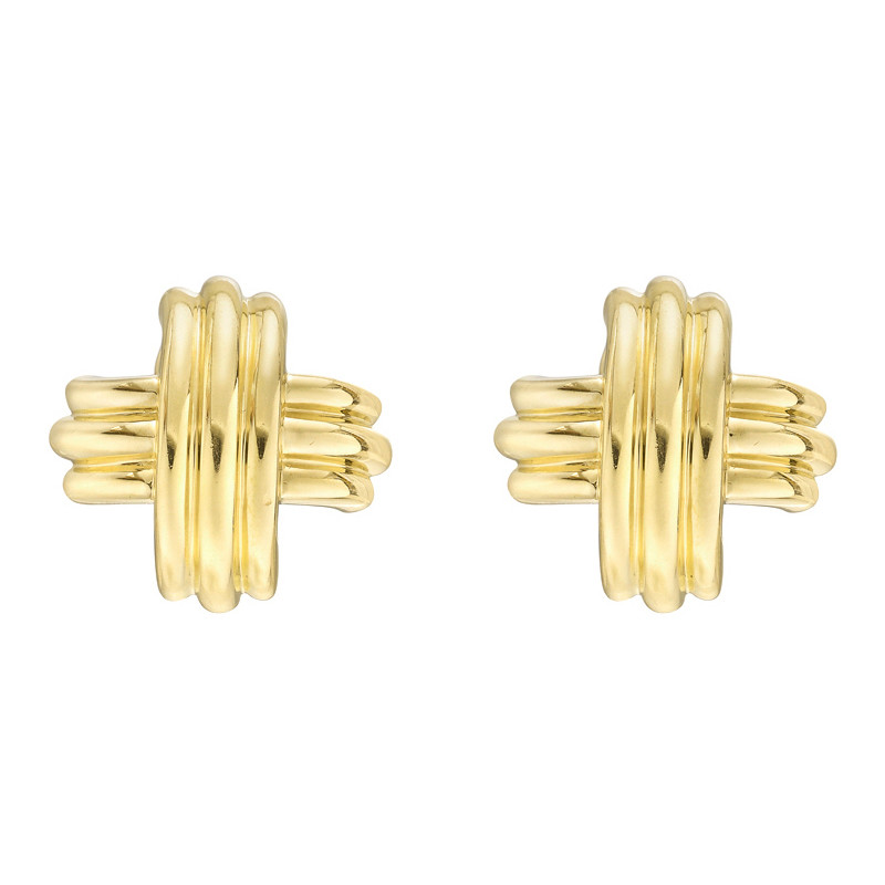 Large 18k Yellow Gold Signature 'X' Earrings