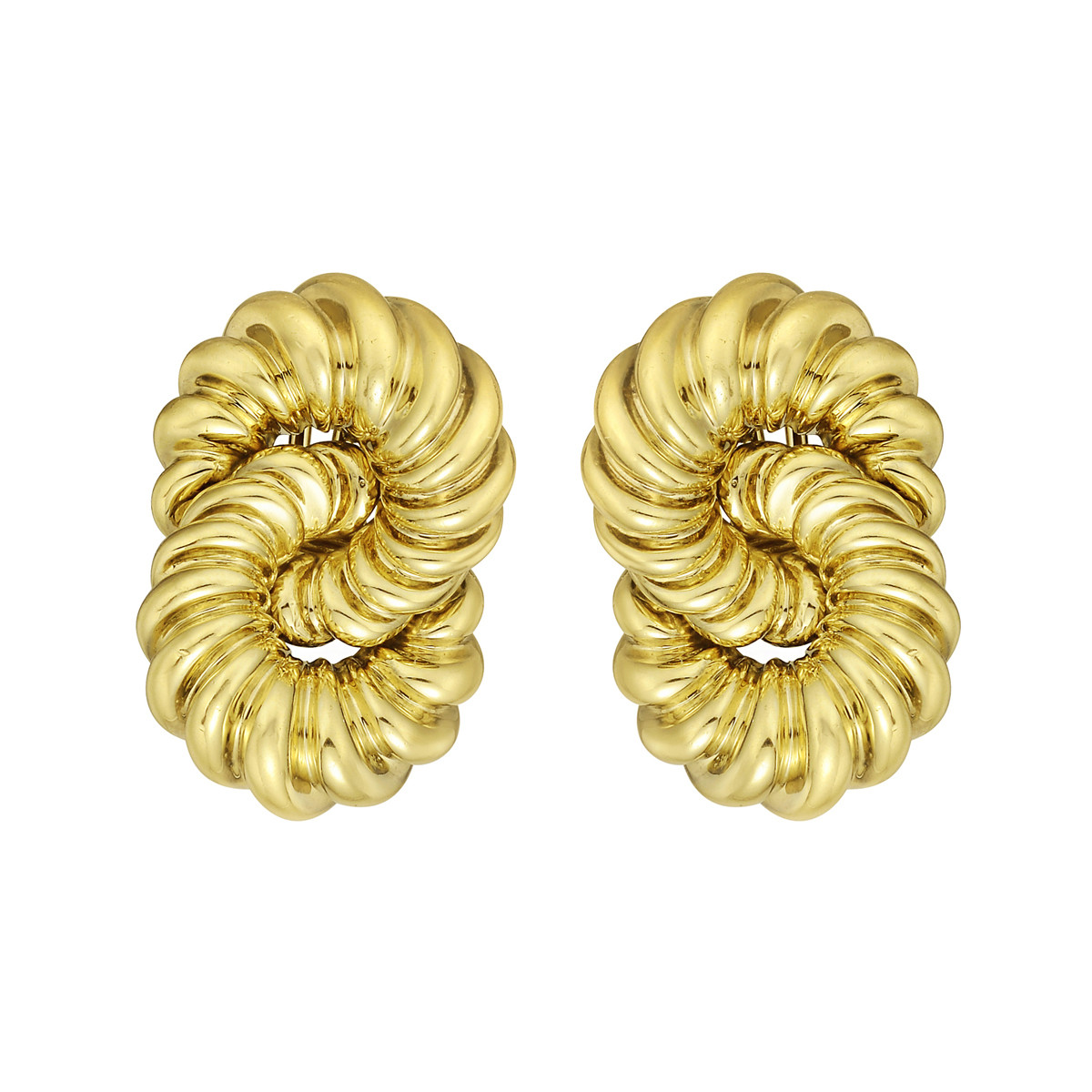 18k Yellow Gold Intertwined Circle Earclips