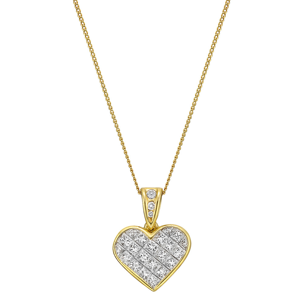 Estate tiffany co 18k gold invisibly set diamond heart pendant invisibly set diamond heart pendant suspended from a diamond set bale the pendant with approximately 132 total carats of diamonds mounted in 18k yellow aloadofball Choice Image