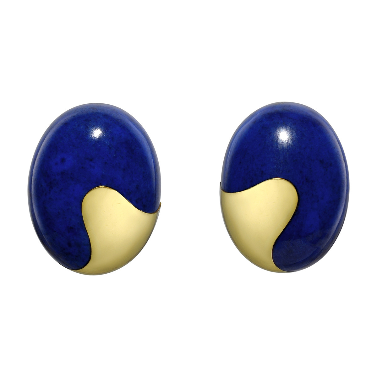 18k Yellow Gold & Lapis Domed Earclips