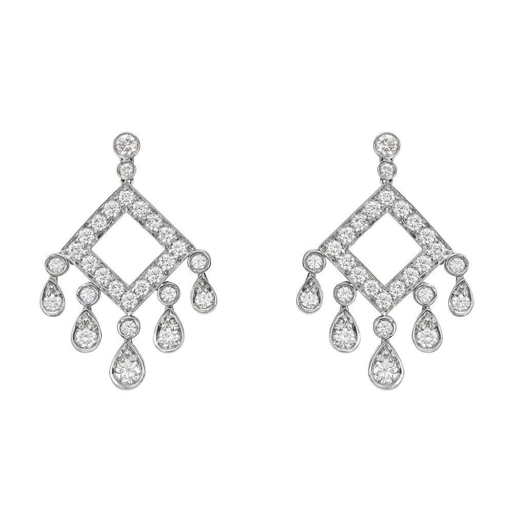 Legacy Chandelier Earrings With Five Graduated Bezel Set Pear Shaped Diamonds Suspended From An Open Square Pavé Diamond Frame