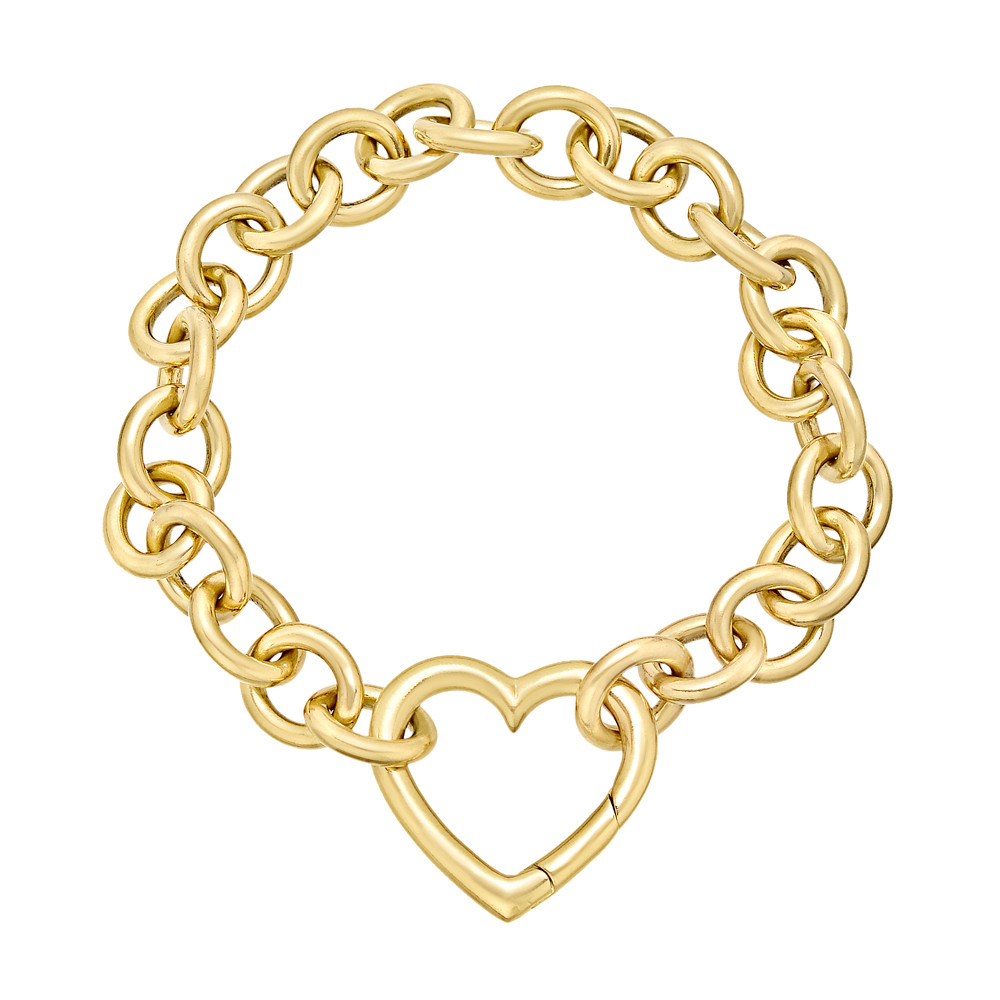 807b3587b Oval-shaped, cable link bracelet, with a large heart clasp, in polished 18k  yellow gold, signed Tiffany & Co. 7.25