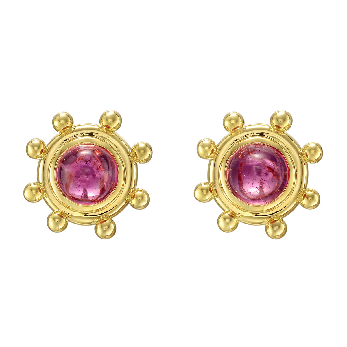 Round Cabochon Cut Pink Tourmaline Earrings The Tourmalines Bezel Set In Polished 18k Yellow Gold Mounts With A Beaded Fringe Signed Paloma Pico For