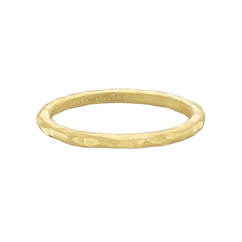 ac4b08e18 Hand-hammered thin band ring in 18k yellow gold, made in Italy, signed Paloma  Picasso for Tiffany & Co. Accompanied by Tiffany ring box. Size 6.25.