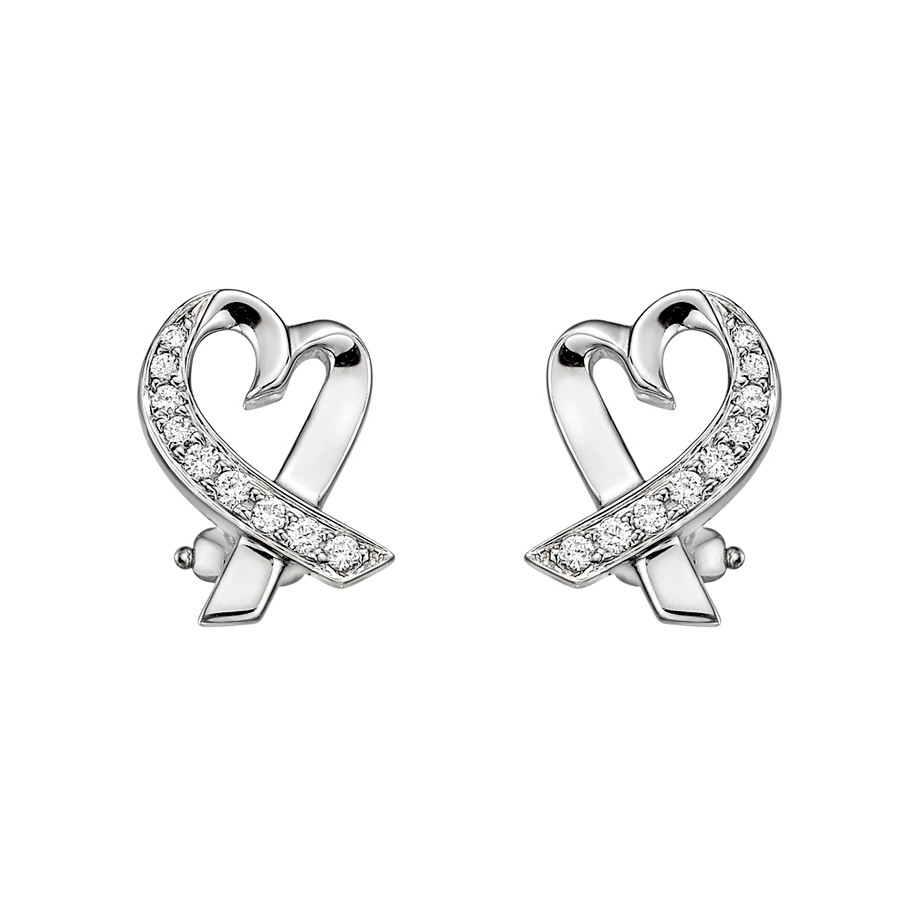Paloma Pico 18k White Gold Loving Heart Earrings