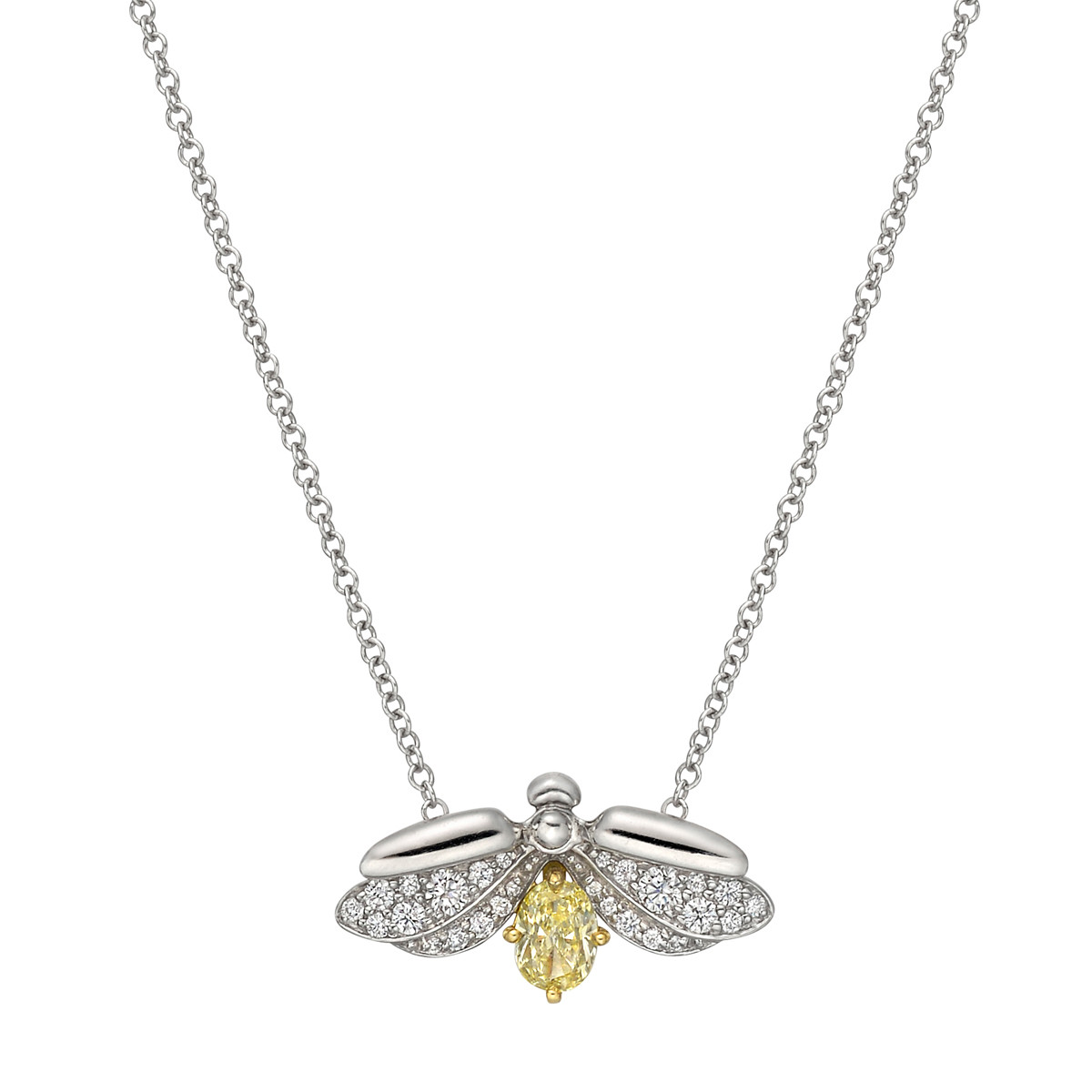 """Paper Flowers"" Yellow Diamond Firefly Pendant"