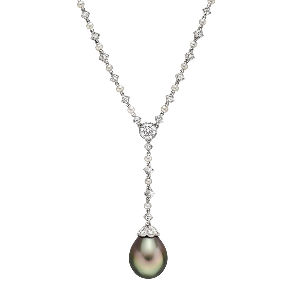 Pearl & Diamond 'Y' Chain Necklace with Tahitian Pearl Drop