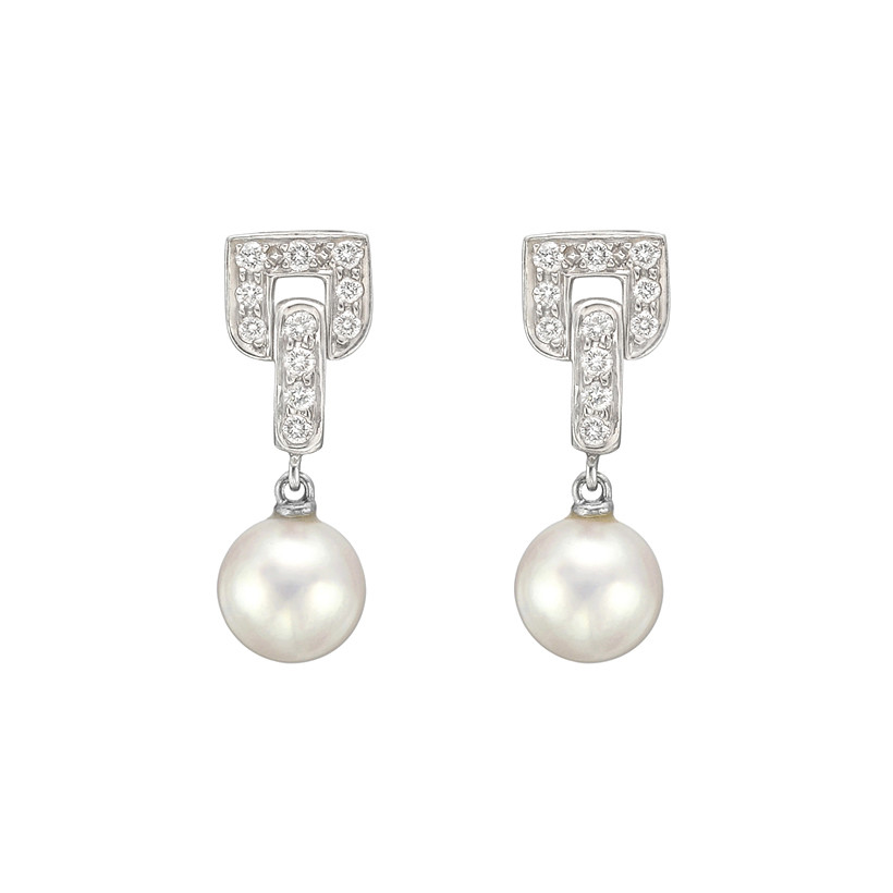 Pearl Diamond Drop Earrings