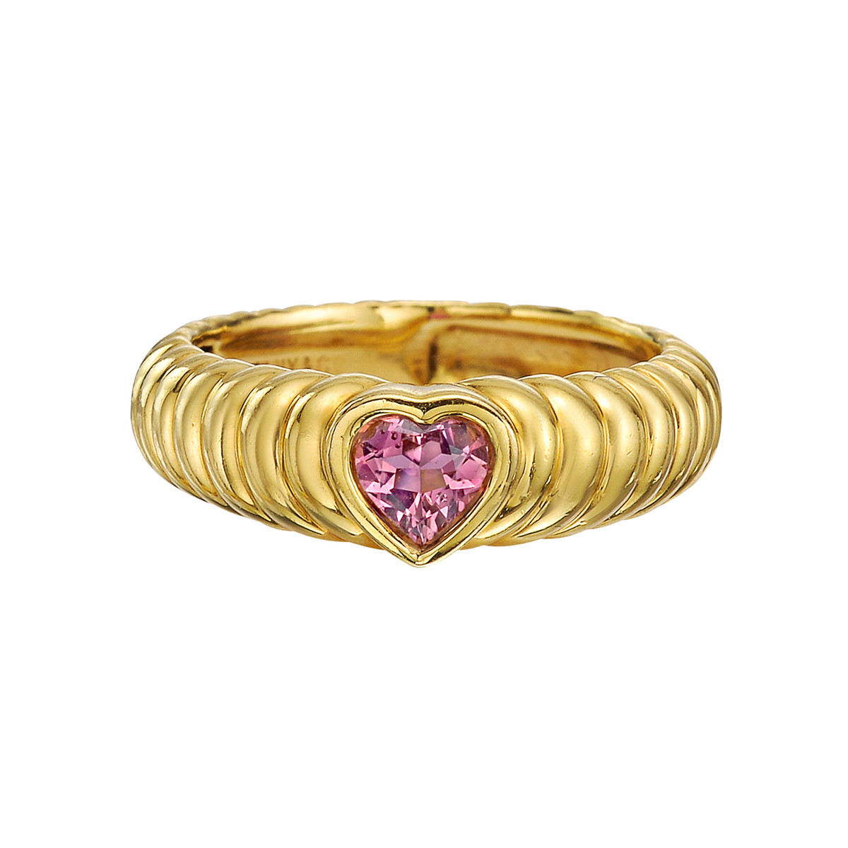 18k Yellow Gold & Pink Sapphire Heart Ring