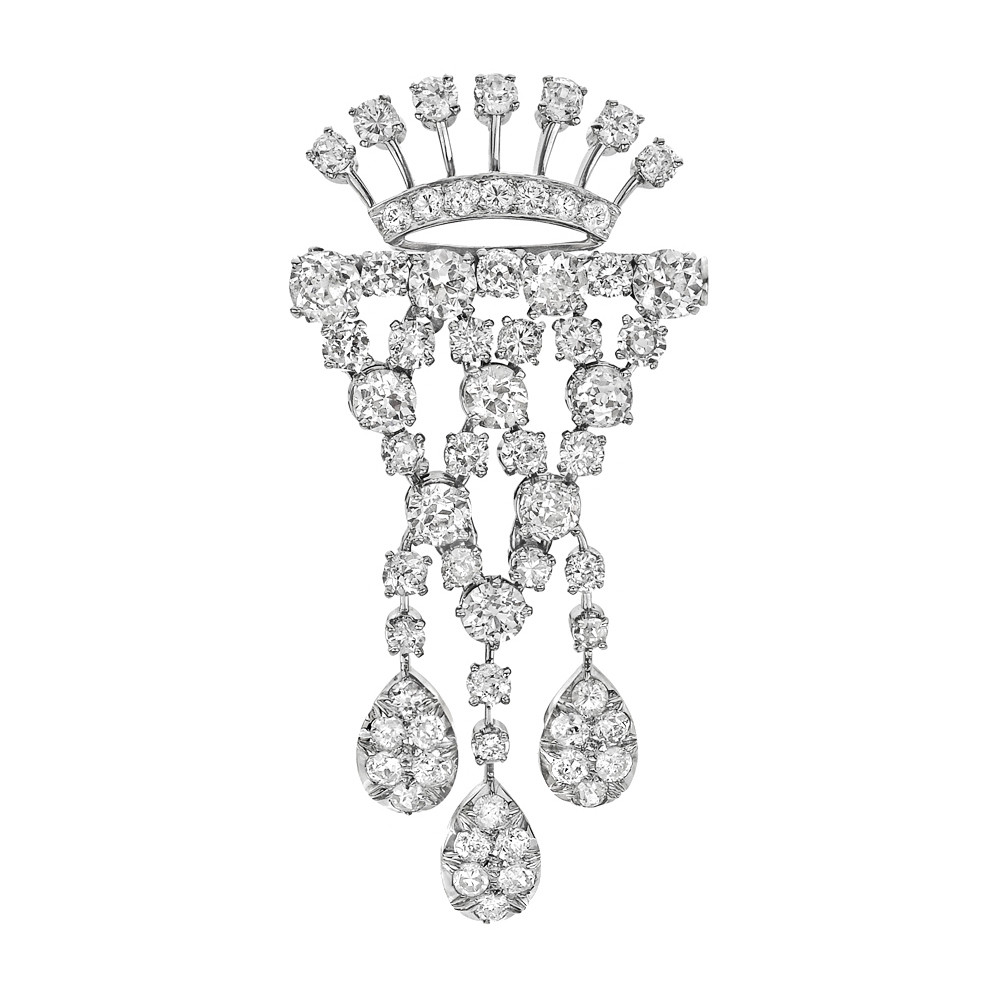 Platinum & Diamond Drop Brooch