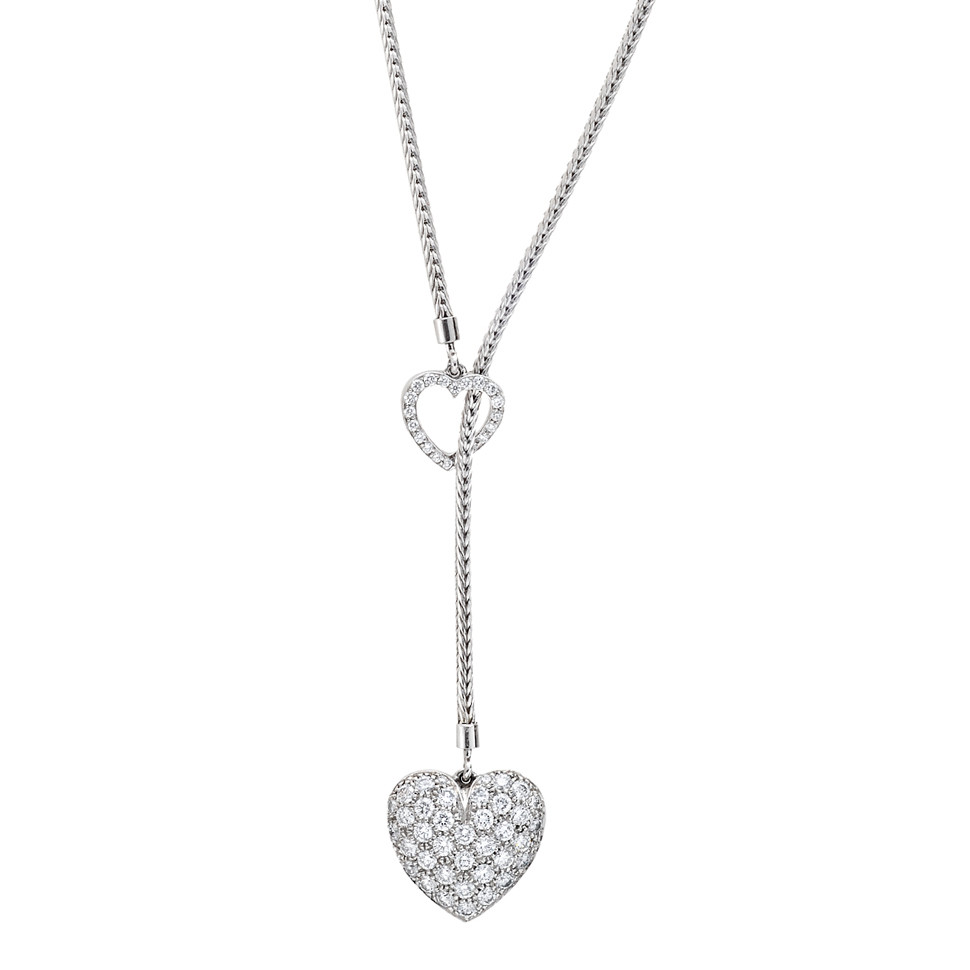 Estate tiffany co platinum pav diamond heart pendant lariat pav diamond heart pendant on lariat style adjustable length chain necklace with open pav diamond heart motif mounted in platinum signed tiffany co aloadofball Images