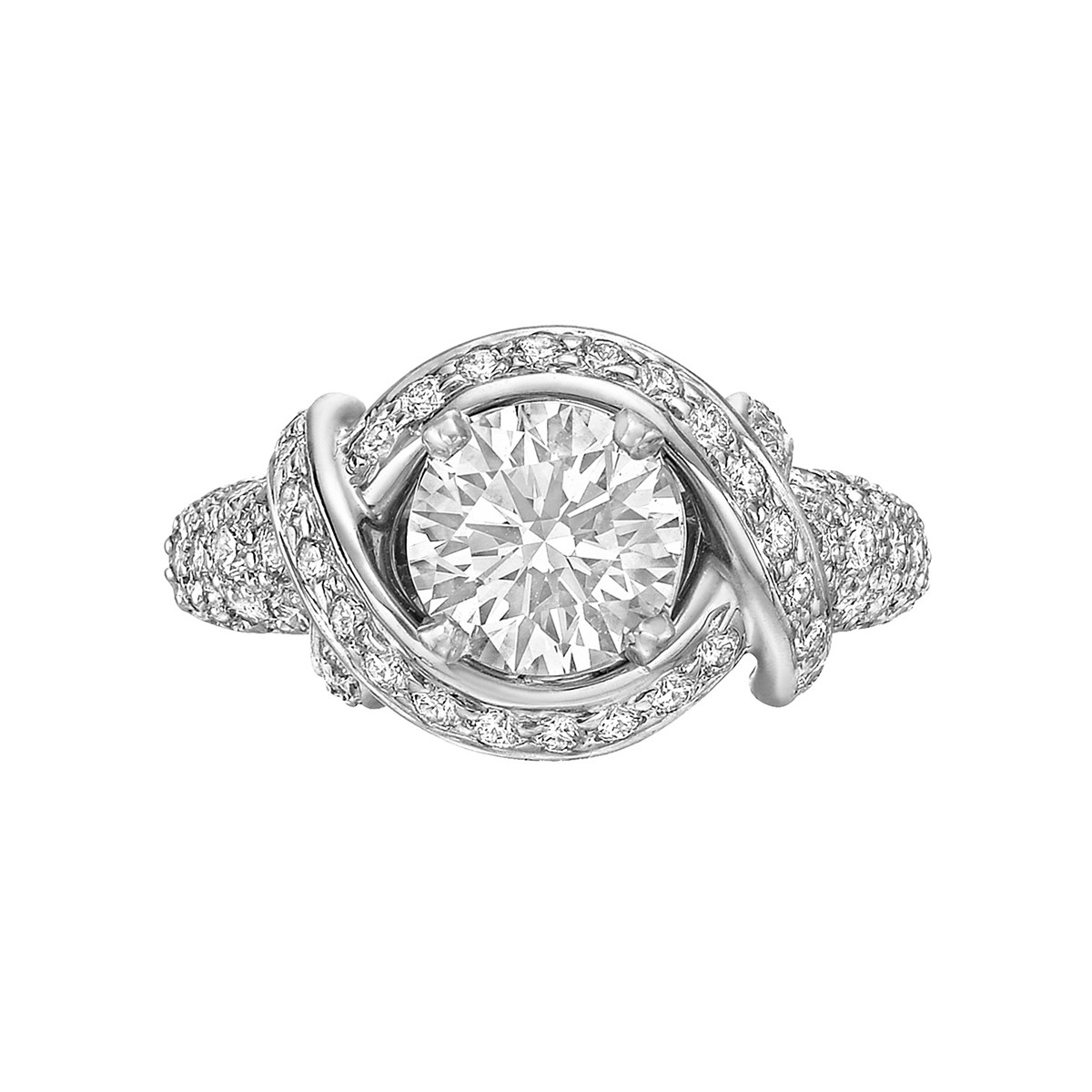 1.36 Carat Round Brilliant Diamond Schlumberger Ring