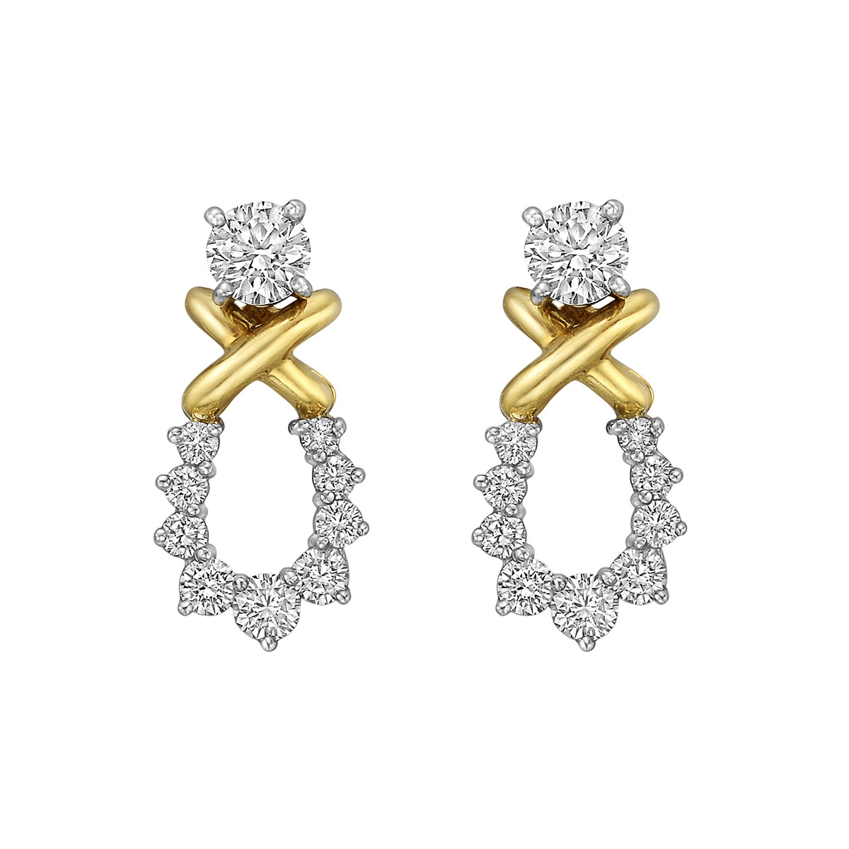 Round Diamond Stud Earrings with Removable Drops