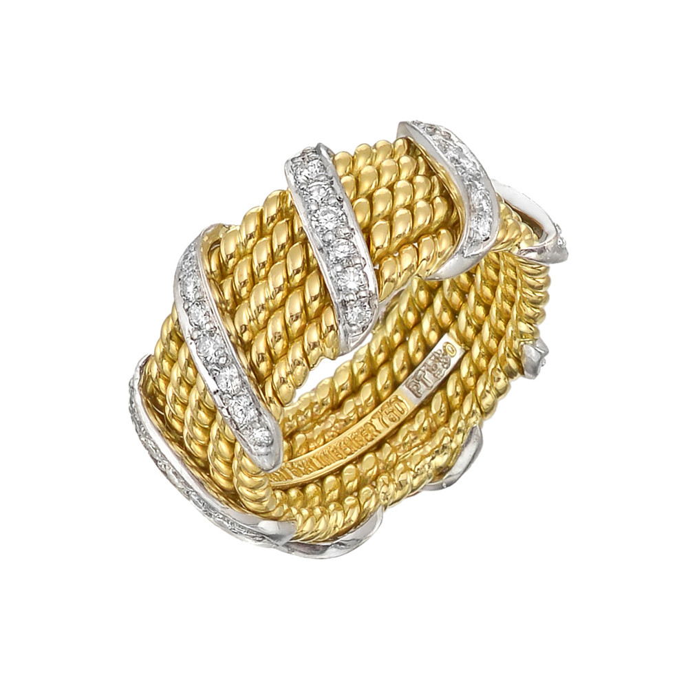Schlumberger 18k Gold & Diamond Wrap Band