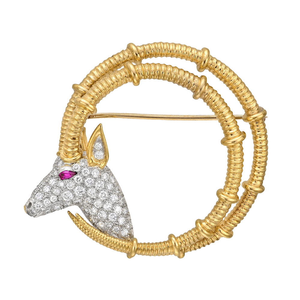 Schlumberger 18k Gold & Pavé Diamond Ibex Brooch