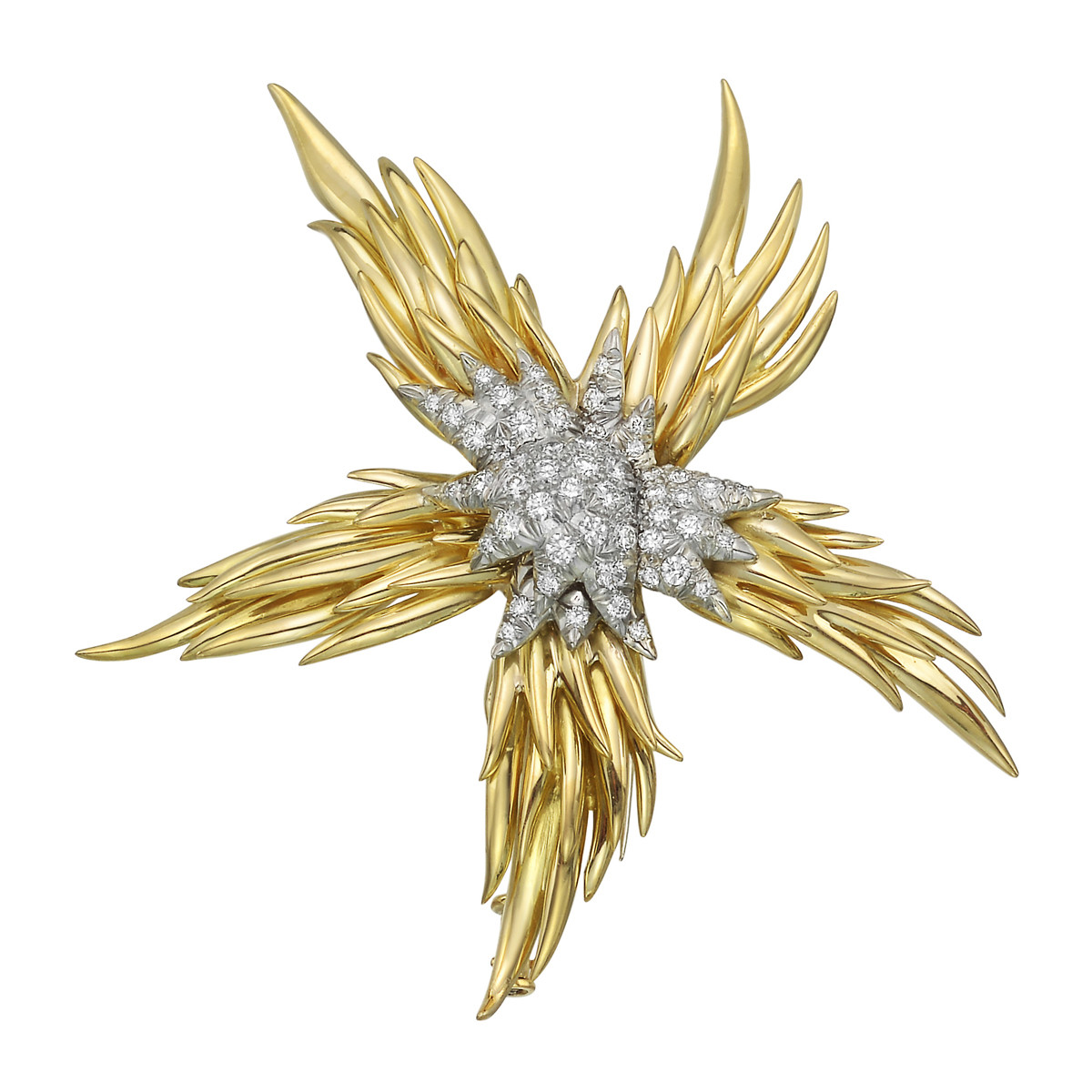 "Schlumberger 18k Gold & Diamond ""Paris Flame"" Brooch"