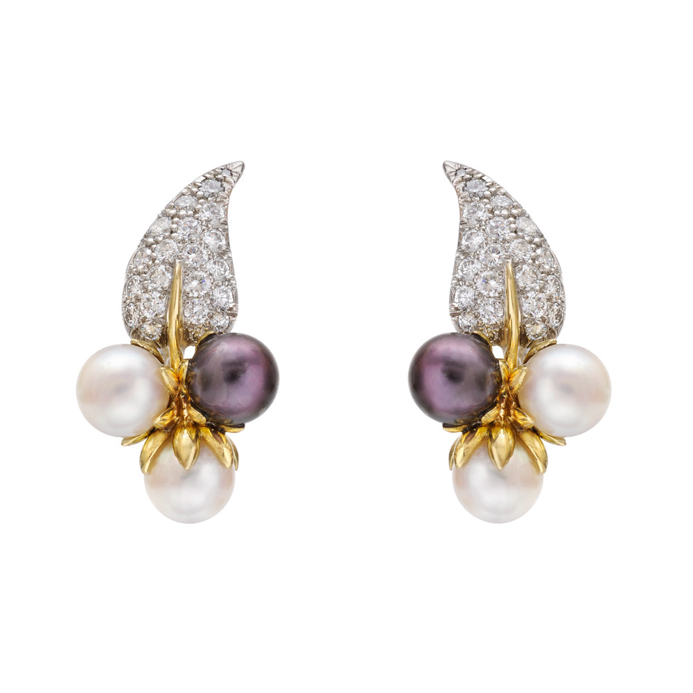 Multicolored Pearl And Diamond Cer Earrings Composed Of A Two White Pearls Black Beneath Pavé Set Leaf The Diamonds