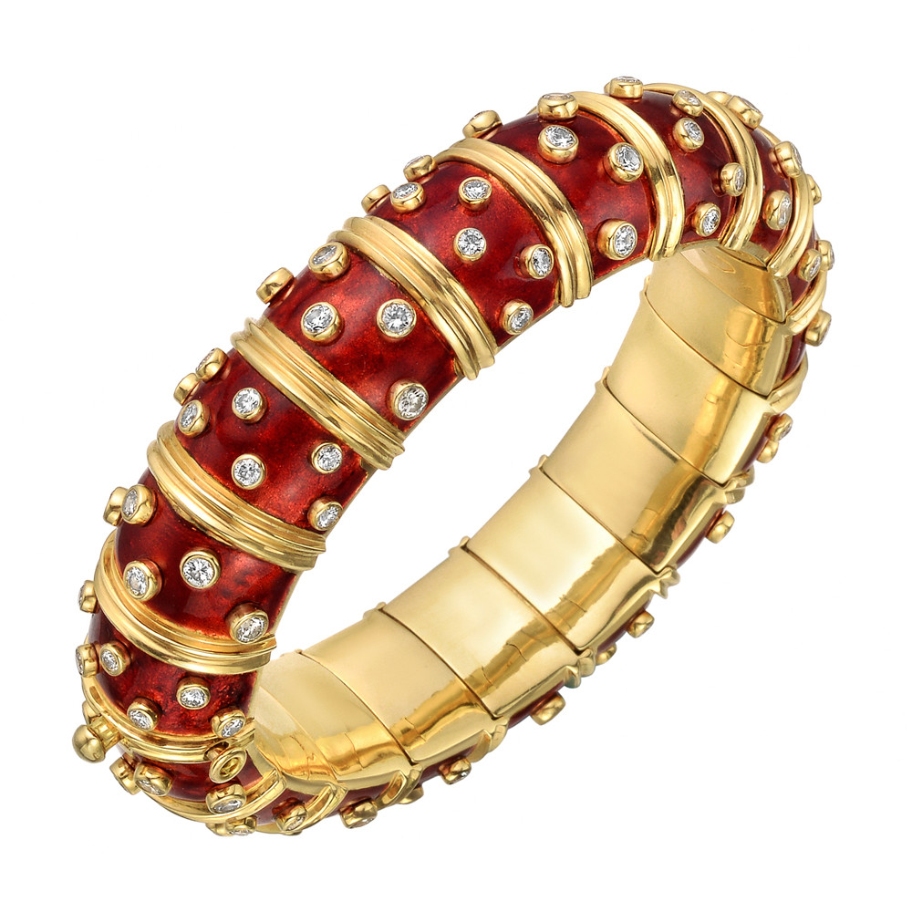 c46bef716 Tiffany Schlumberger Red Enamel Diamond Bangle Bracelet | Betteridge