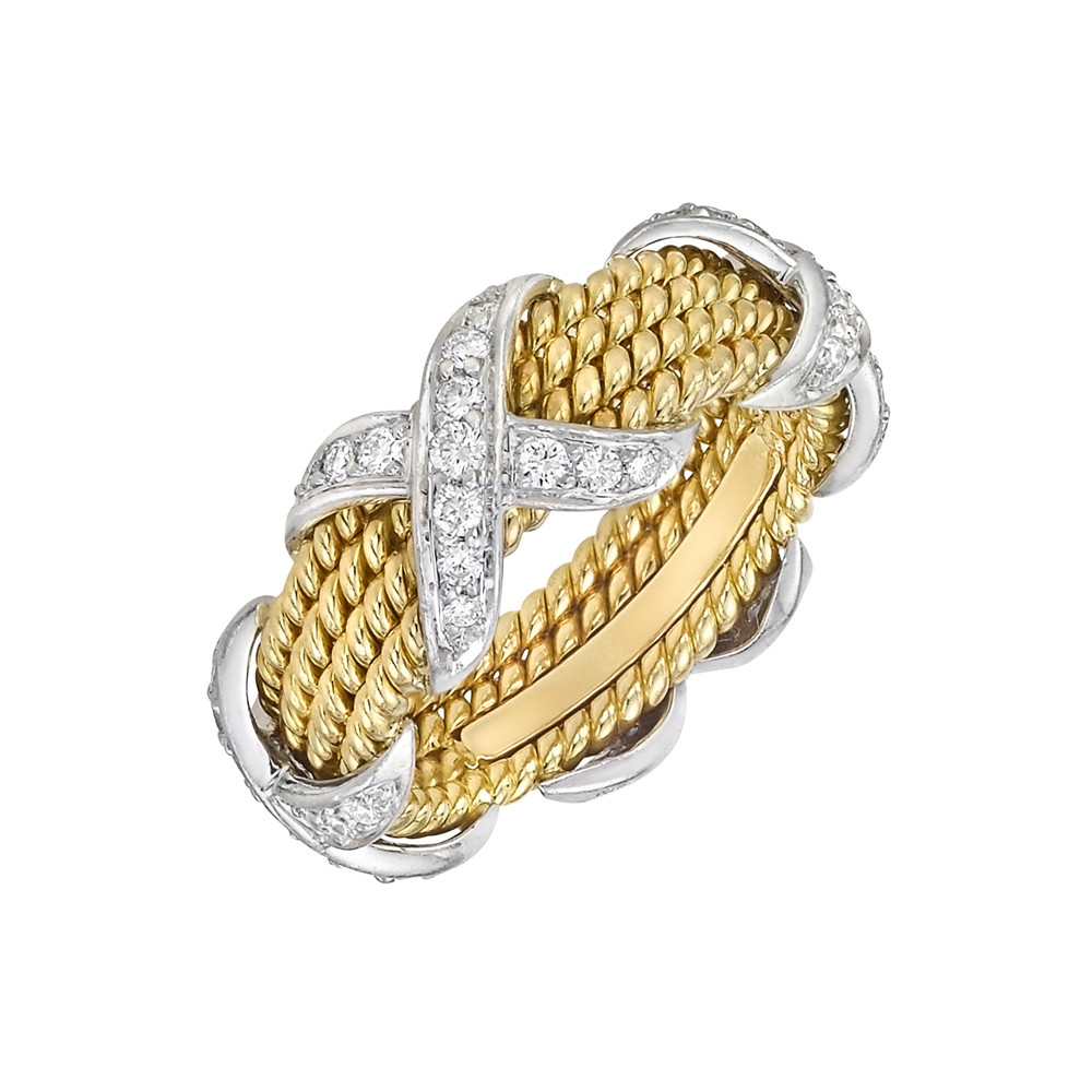 Schlumberger 18k Gold Rope & Diamond 'X' Band