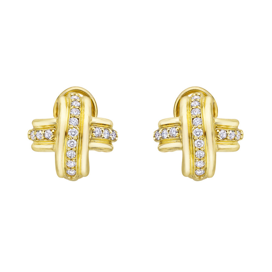 Medium 18k Gold Diamond Signature X Earrings